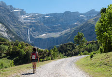 Woman hiker and cirque de Gavarnie Royalty Free Stock Photography