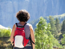 Woman hiker and cirque de Gavarnie Stock Photo