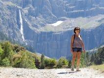Woman hiker and cirque de Gavarnie Stock Images