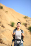 Woman hiker at desert Royalty Free Stock Photo