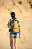 Woman hiker at desert Royalty Free Stock Image