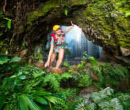 Woman hiker discovering a beautiful jungle Royalty Free Stock Photography