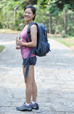 Woman hiker drink water Stock Photography