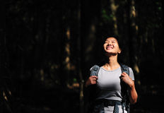 Woman hiker enjoy nature Stock Images