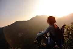 Woman hiker enjoy the view Royalty Free Stock Photo