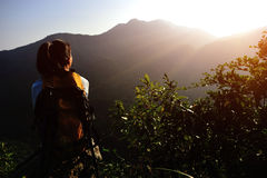 Woman hiker enjoy the view Royalty Free Stock Image