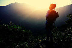 Woman hiker enjoy the view Royalty Free Stock Images