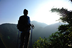 Woman hiker enjoy the view Stock Photography