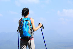 Woman hiker enjoy the view Royalty Free Stock Photo