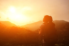 Woman hiker enjoy the view Stock Image