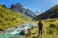 Woman hiker enjoys the view of Earnslaw Burn Track in Glenorchy Stock Image