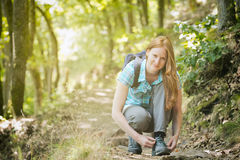 Woman Hiker in Forest Royalty Free Stock Photos