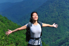 Woman hiker free Royalty Free Stock Photography