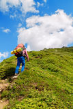 Woman hiker goes uphill Royalty Free Stock Image