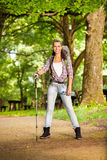 Woman hiker. During hike in beautiful forest Royalty Free Stock Images