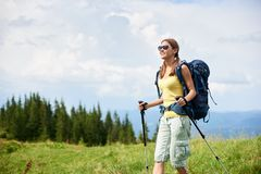 Woman hiker hiking on grassy hill, wearing backpack, using trekking sticks in the mountains. Young smiling woman hiker hiking mountain trail, walking on grassy royalty free stock images