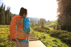 Woman hiker hiking on trail in mountain Stock Photos