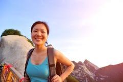 Woman hiker at  huashan mountain Stock Images
