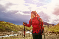 Woman hiker in Iceland stock photography