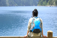 Woman hiker on jiuzhaigou national park, china Royalty Free Stock Image