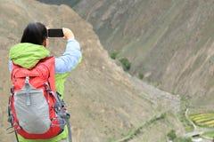Woman hiker on jiuzhaigou national park, china Stock Photography