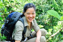 Woman hiker in jungle Royalty Free Stock Images