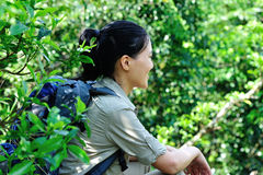 Woman hiker in jungle Stock Image