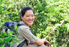 Woman hiker in jungle Royalty Free Stock Image