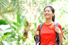 Woman hiker in jungle Stock Photos