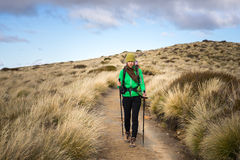Woman hiker on Kepler Track. Royalty Free Stock Photo