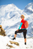 Woman hiker looking at inspirational landscape Stock Photography