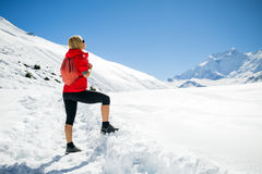 Woman hiker looking at inspirational landscape Stock Image