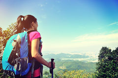 Woman hiker looking at the view Royalty Free Stock Photos