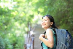 Woman hiker at mount hua Stock Images