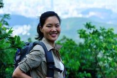 Woman hiker mountain Royalty Free Stock Photos