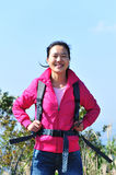 Woman hiker mountain peak Stock Photo