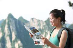Woman hiker mountain peak Stock Photography