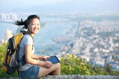 Woman hiker mountain peak Stock Photo