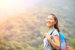 Woman hiker at mountain peak Stock Photography