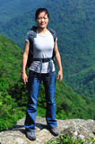 Woman hiker in mountain top Royalty Free Stock Image