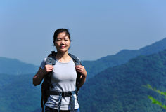 Woman hiker mountain top Royalty Free Stock Images