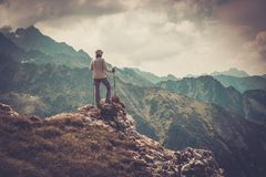 Woman hiker on a mountain Royalty Free Stock Images