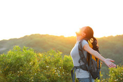 Woman hiker mountain top Royalty Free Stock Photos