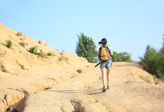 Woman hiker at mountain Stock Photography