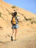 Woman hiker at mountain Stock Photos