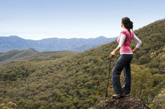 Woman Hiker in Mountains Stock Image