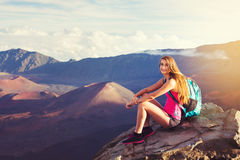 Woman hiker in the mountains enjoying the outdoors Royalty Free Stock Photo