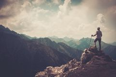 Woman hiker in a mountains Royalty Free Stock Photos