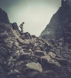 Woman hiker in a mountains Stock Photography