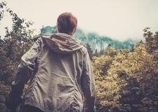Woman hiker in a mountains Royalty Free Stock Images